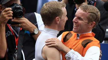 Brotherly love: Nathan Berry (left) congratulates Tommy after Tommy took out the Golden Slipper on Overreach in 2013.