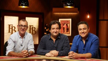 Serious competition: The Front Bar's Andy Maher, Mick Molloy and Sam Pang.