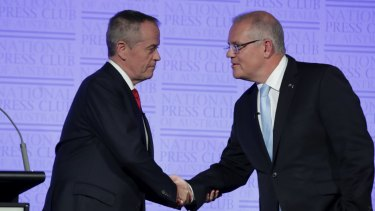 Leaders' debate with Prime Minister Scott Morrison and Opposition Leader Bill Shorten at the National Press Club.