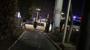 Police officers in Kashgar, Xinjiang.