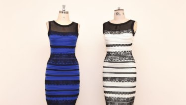 The two-tone dress, left,  alongside an ivory and black version made by Roman Originals, that sparked a global debate on Twitter over what colour it is.