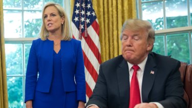 Trump asked Nielsen, left, to resign as the number of border crossings ballooned.