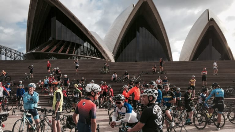 Cyclists on the Mike Hall memorial bike ride at the Sydey Opera House on April 2 last year.
