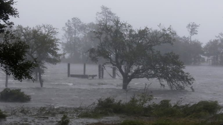 High winds and storm surge from Hurricane Florence hits Swansboro, North Carolina.