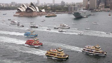 The First Fleet ferries race on Sydney Harbour on Australia Day.