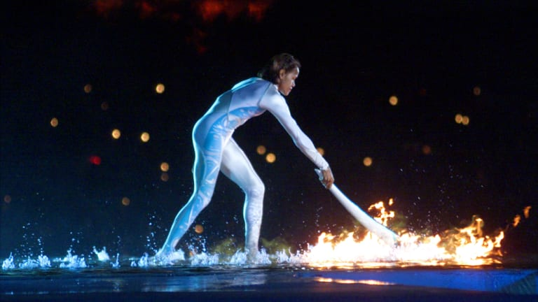 Special moment: Cathy Freeman lights the Olympic cauldron at the opening ceremony for the Sydney Games.