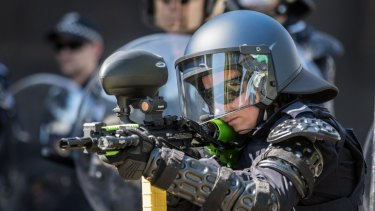 Police demonstrating their new equipment in March.