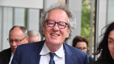 Geoffrey Rush outside the Federal Court in November.