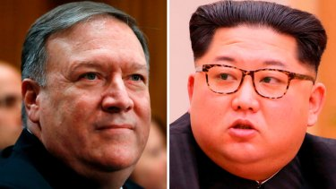 Mike Pompeo, left, and North Korean leader Kim Jong-un.