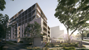Artist's impression of the first stage of development at the site, currently the Nine Network's headquarters in Willoughby, Sydney