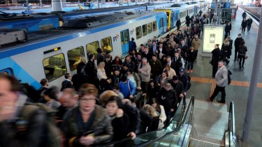 Commuters at Southern Cross Station.