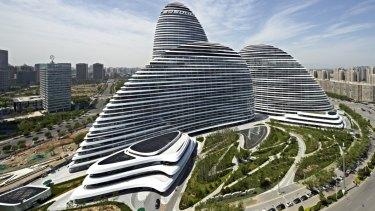 Zaha Hadid's Wangjing SOHO building in Beijing.