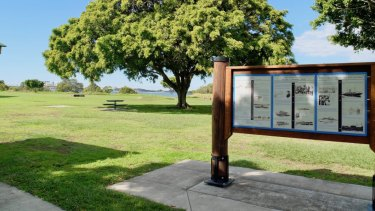 The information board at Myrtletown Reserve tells of the area's glorious past.