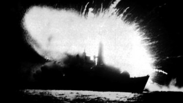 The British frigate HMS Antelope explodes in San Carlos Bay in the Falklands War.