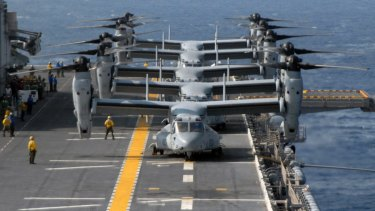 US Marine Corps MV-22 Ospreys prepare for flight aboard the multipurpose amphibious assault ship USS Wasp in 2007.