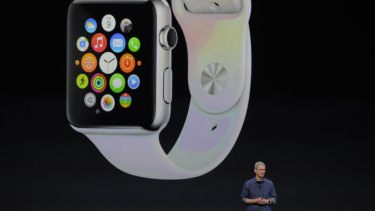 Tim Cook unveils the Apple Watch in 2014.