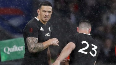 Worn down: Sonny Bill Williams is replaced by Ryan Crotty after a shoulder injury.