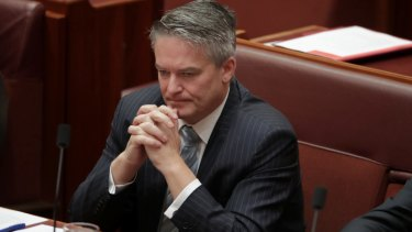 Finance Minister Mathias Cormann became visibly emotional during Penny Wong's speech about the same-sex marriage survey.