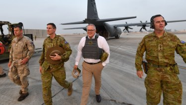 Prime Minister Scott Morrison during a visit to Task Group Taji at Taji Military Complex in Iraq.