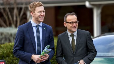 Greens candidate for Higgins Jason Ball campaigns with Melbourne MP Adam Bandt.