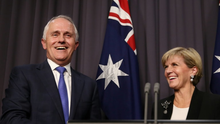 Malcolm Turnbull and Julie Bishop hold their first press conference after winning the leadership ballot on Monday night.