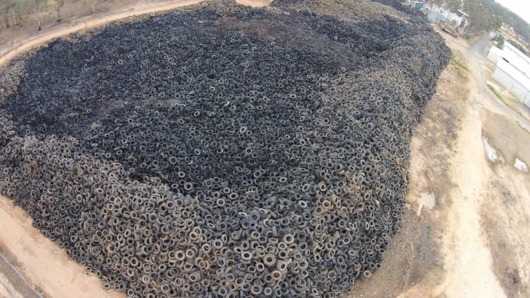 An aerial shot from 2014 of the Stawell tyre dump.