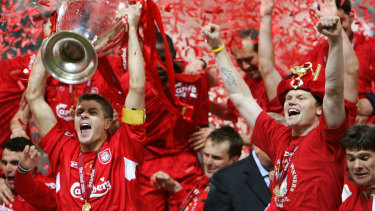 Magic moment: Liverpool claim the 2005 Champions League.
