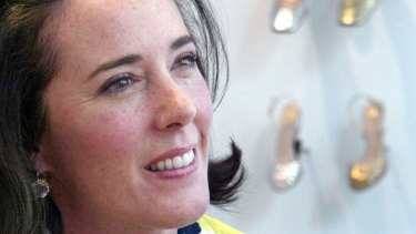 Kate Spade pictured with shoes from a collection in 2004.