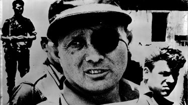 Moshe Dayan during the six day war, as minister of defence.