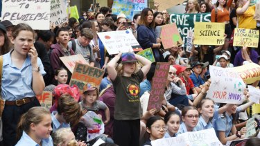 Thousands of students protested in Martin Place regarding climate change policy in November last year, and will gather again in Sydney on Friday.