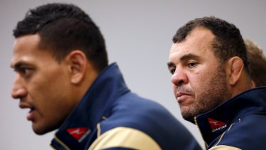Better days: Israel Folau and Michael Cheika in 2015.