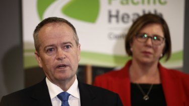 Opposition Leader Bill Shorten speaks about his mother during a press conference at Grand Pacific Health in Nowra on May 8, 2019.