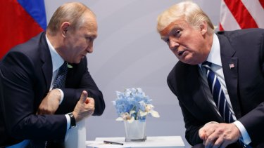 US President Donald Trump meets with Russian President Vladimir Putin at the G20 Summit in Hamburg in July 2017.