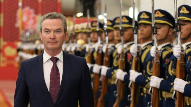 Australian Minister of Defence Christopher Pyne reviewing the PLA guards of honour at the headquarters of Defence Ministry in Beijing last week.