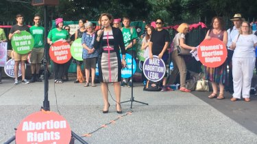 Queensland Deputy Premier Jackie Trad addresses pro-choice abortion activists at a rally in Brisbane in 2017.