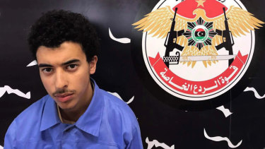 Hashim Abedi at the Tripoli-based Special Deterrent anti-terrorism force unit after his arrest in 2017.
