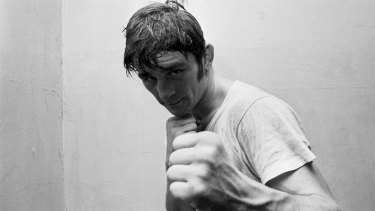 Australian boxer, Johnny Famechon, trains for a title fight.