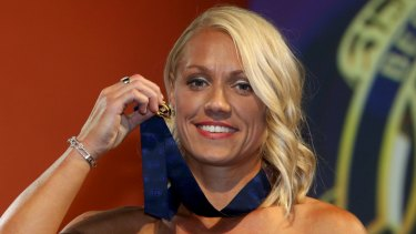 Erin Phillips with the inaugural AFLW best and fairest medal that some pundits believe should be named after her.