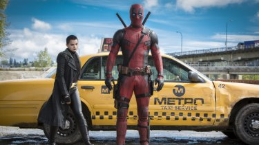 Brianna Hildebrand as Negasonic Teenage Warhead with Ryan Reynolds as Deadpool.