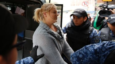 Cassandra Sainsbury arrives at court in Bogota in July.