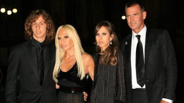 Donatella with ex-husband Paul Beck and their children Daniel and Allegra in 2017.