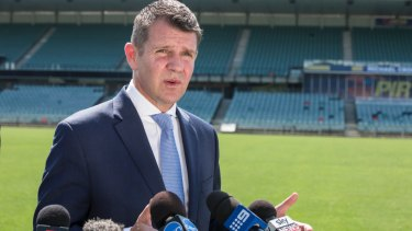 Former premier Mike Baird was forced to defend the lock-out laws during a press conference in December 2016.