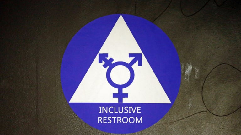 A sticker designates a gender neutral bathroom at Nathan Hale high school in Seattle.