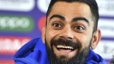 No worries: Virat Kohli speaks to the media ahead of the semi-final.