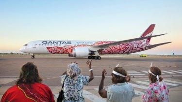 The Emily Kame Kngwarreye 787 Dreamliner from the Qantas-Balarinji flying art series.