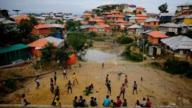 Rohingya refugees play at Balukhali Refugee Camp in Bangladesh.