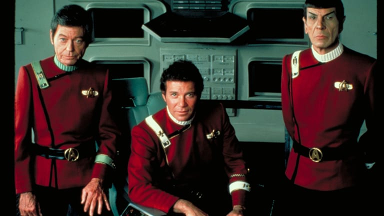 Leonard Nimoy (right) as Spock in 1982's Star Trek II: The Wrath of Khan.