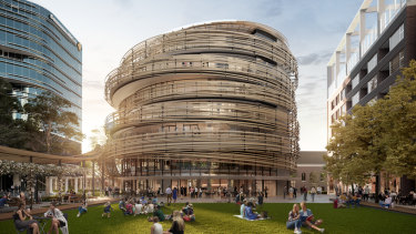 The Exchange, a mixed-use building at the heart of Lendlease's Darling Square precinct designed by Japanese architecture firm Kengo Kuma and Associates.