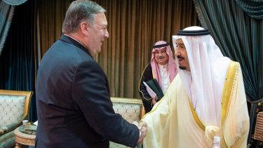 US Secretary of State Mike Pompeo, left, is greeted by Saudi King Salman in Riyadh, Saudi Arabia.