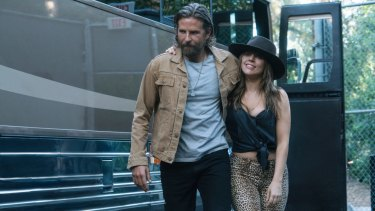 Cooper and Lady Gaga in a scene from A Star is Born.